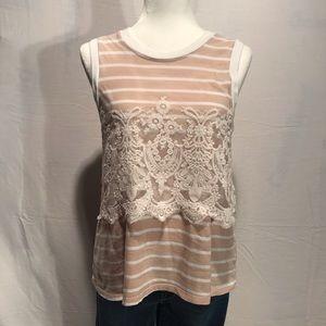 Anthro Postmark Top with Floral Lace Overlay